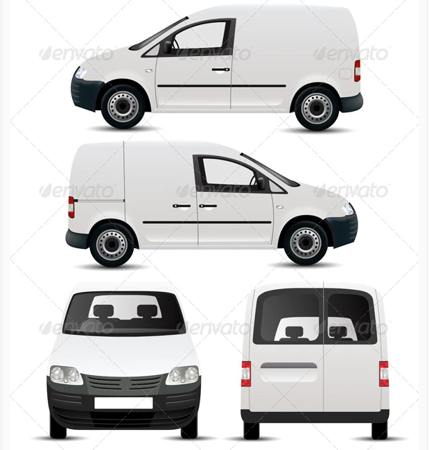White Commercial Vehicle Mockup