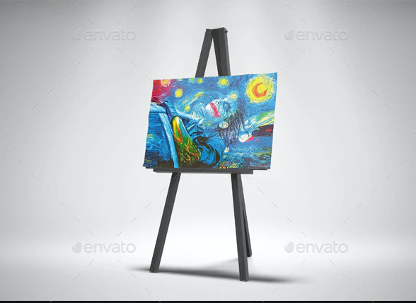 Easel Stand with Canvas Mockups