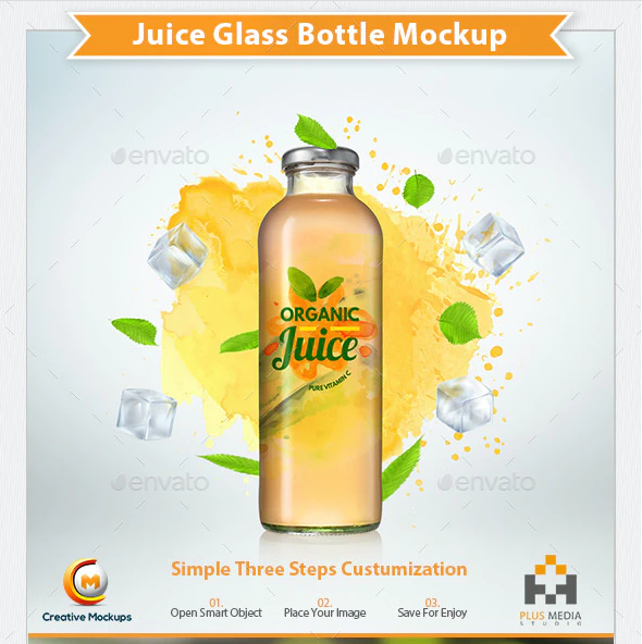 Juice Glass Bottle Mockup