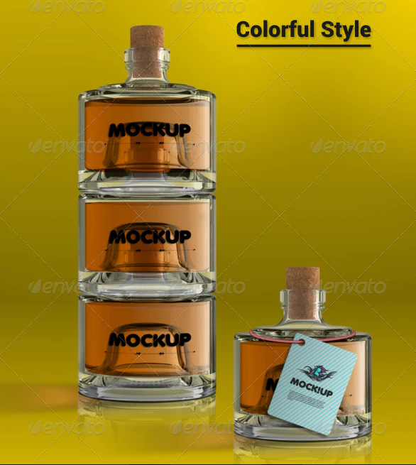 Small Glass Bottles Mockup