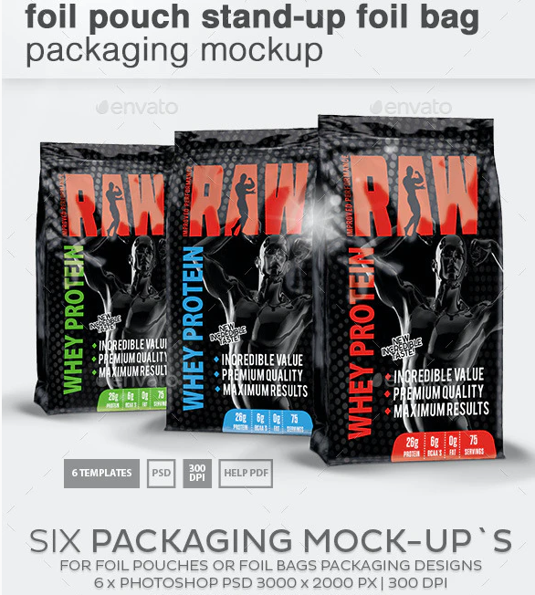 Foil Pouch Stand-Up Foil Bag Packaging Mockup