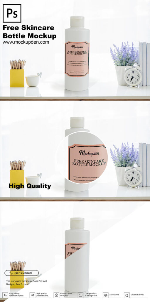 Free Skincare Bottle Mockup PSD Template
