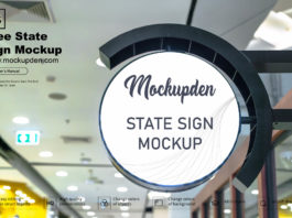 Free State Sign Mockup PSD Template