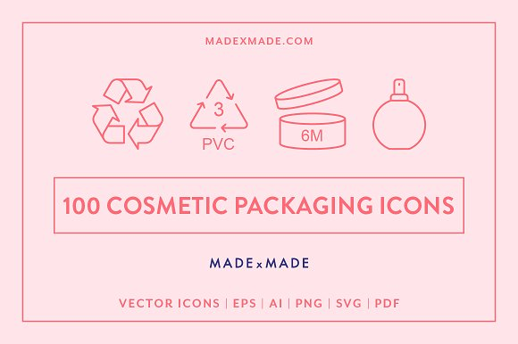 100 Different Cosmetic Packaging Icons Illustration