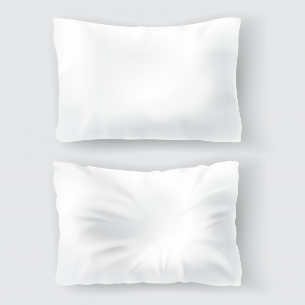2 Rectangular Shape White Color Pillow Mockup