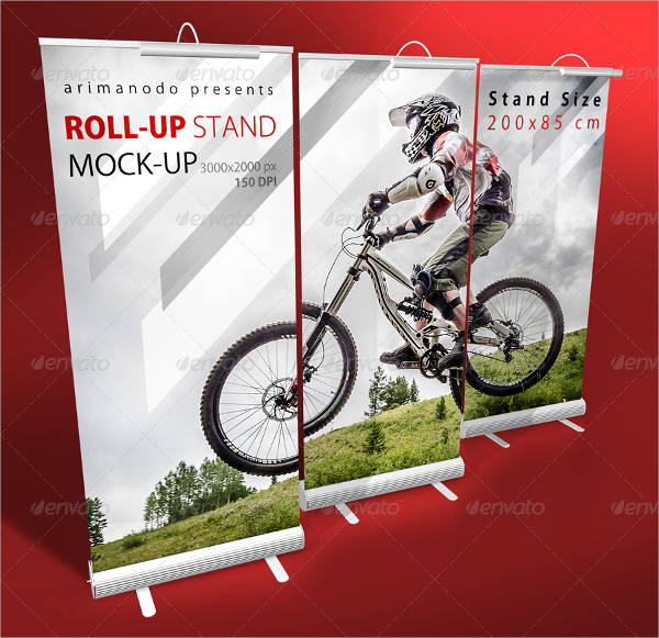 3 PSD Roll-Up Stand Mockup