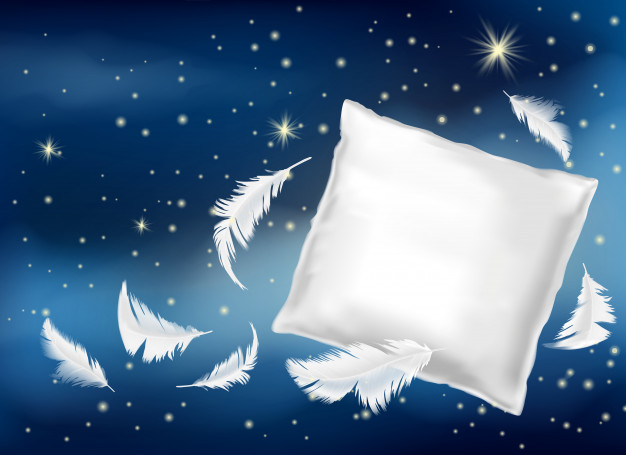 3D Night View White Pillow Illustration In Vector Format