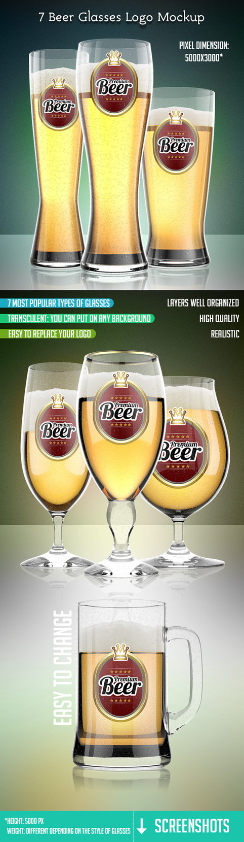 7 Beer Glass With Logo Mockup