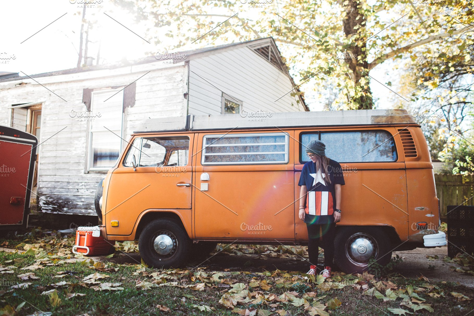 A Girl Standing Near The Van Mockup.
