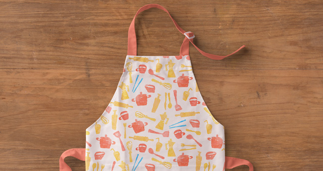 Apron on Wooden Table Mockup PSD: