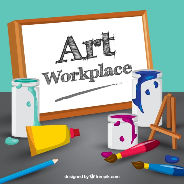 Art Workplace and Paints Vector Photo Frame Illustration