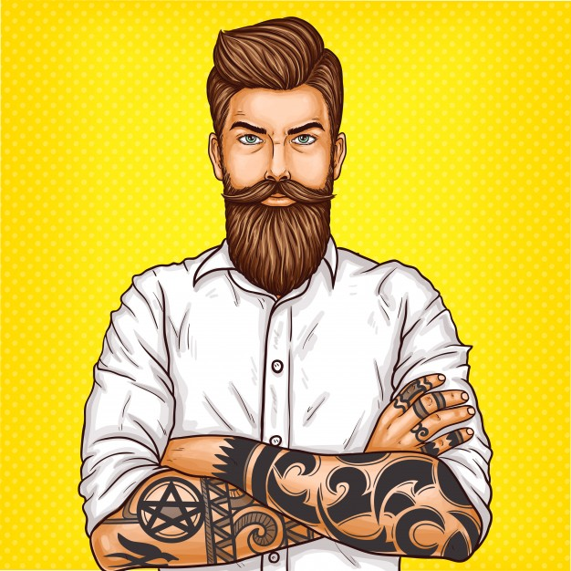 Art illustration of a bearded man wearing a Polo Shirt Mockup: