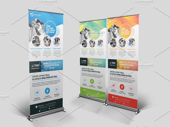 Artistic Design Roll-Up Mockup PSD