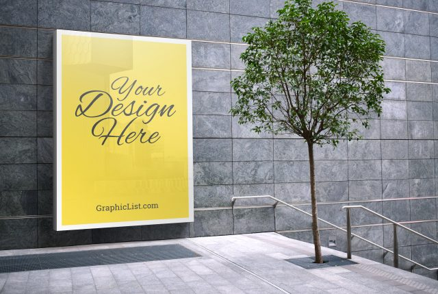 Awesome Advertising Door Sign Mockup PSD
