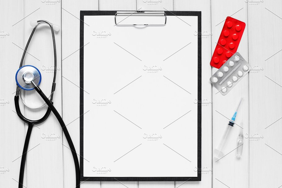 Background Editable Clipboard and Medical Tools Mockup PSD