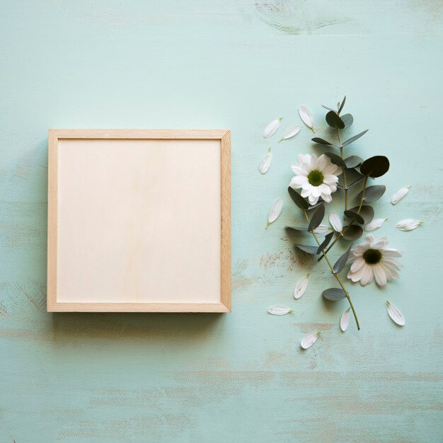 Beautifully Designed Square frame next to flower Mockup PSD