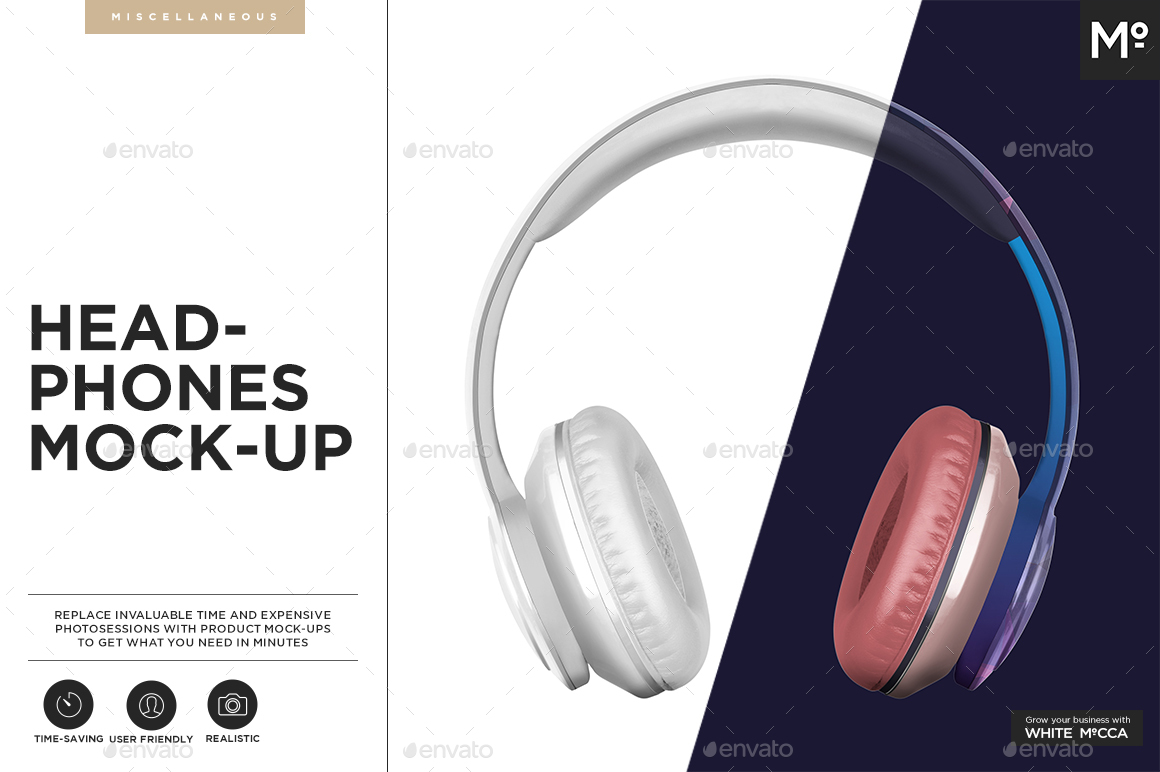 Bi-color Headphone Mockup