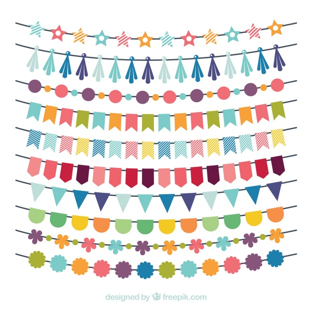 Birthday multicolored Garland Collection Vector