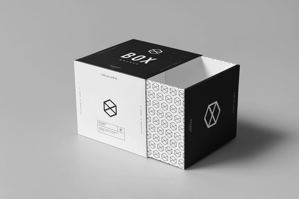 Black And White Product Packaging Box Mockup