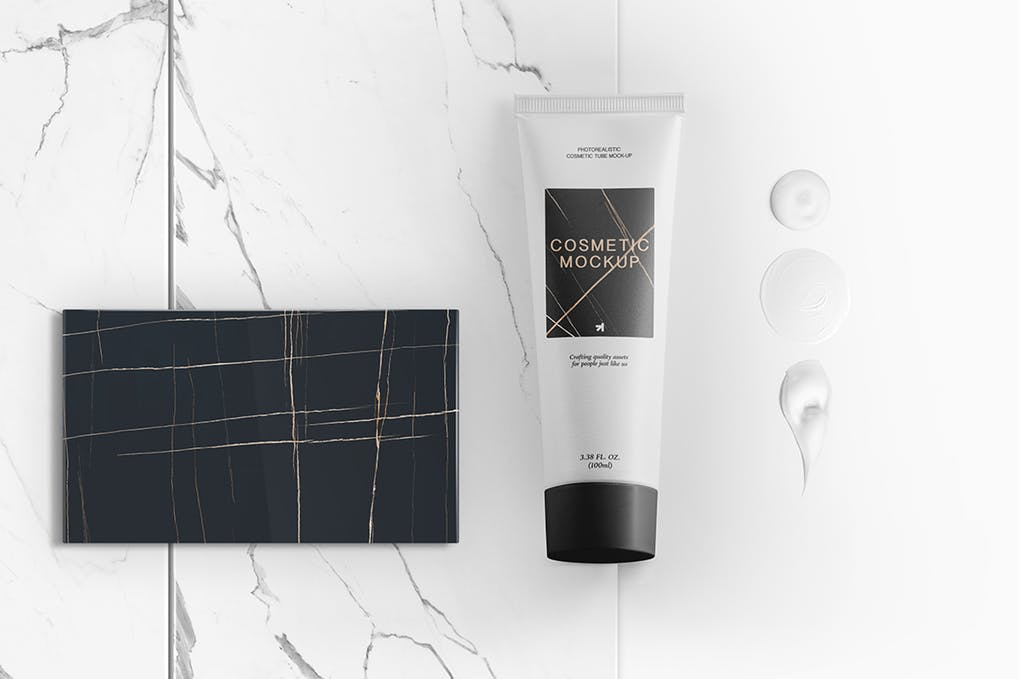 Black And white Cosmetic Tube With Card Beside Illustration