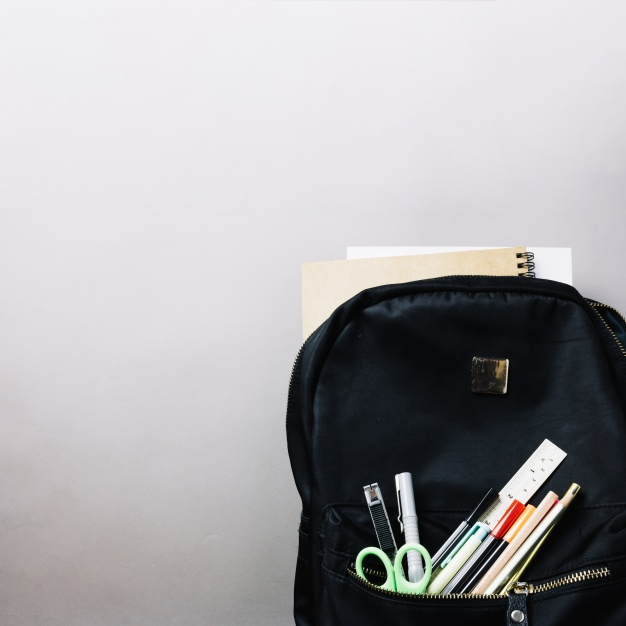 Black Backpack with useful accessories Mockup