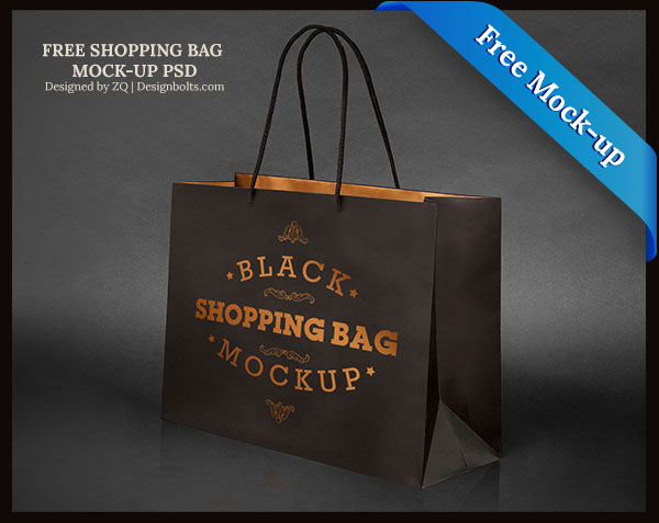 Black Color Paper Bag Mockup