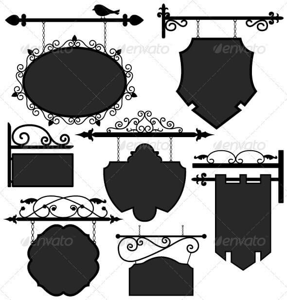 Black Shop Signage Hanging Board Template