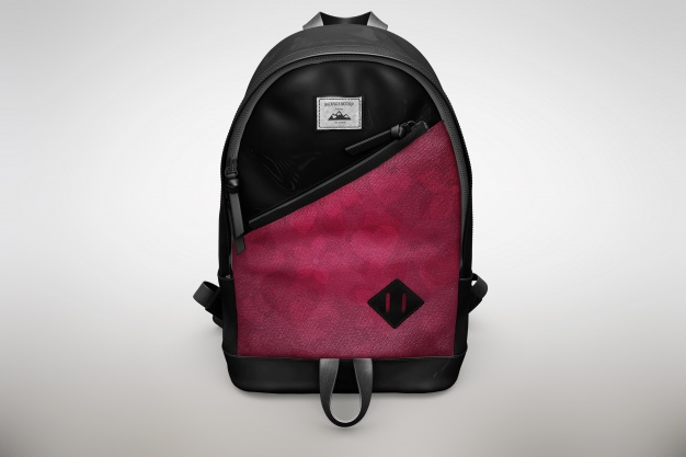 Black and Pink Backpack Mockup