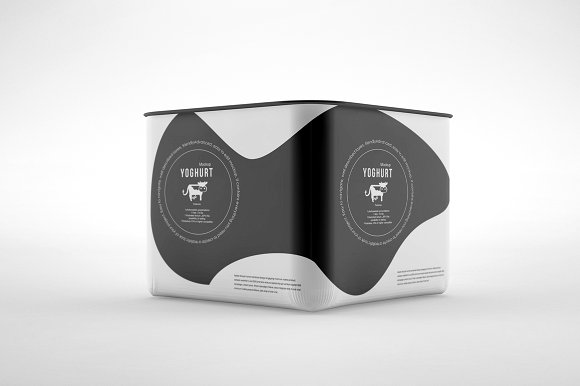 Black and White Plastic Yogurt container Mockup PSD