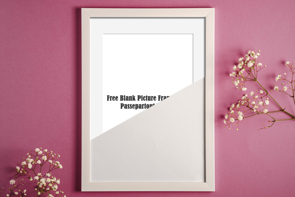 Free Blank Picture Frame With Passepartout Mockup