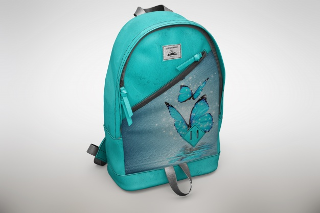 Blue Editable Backpack Mockup