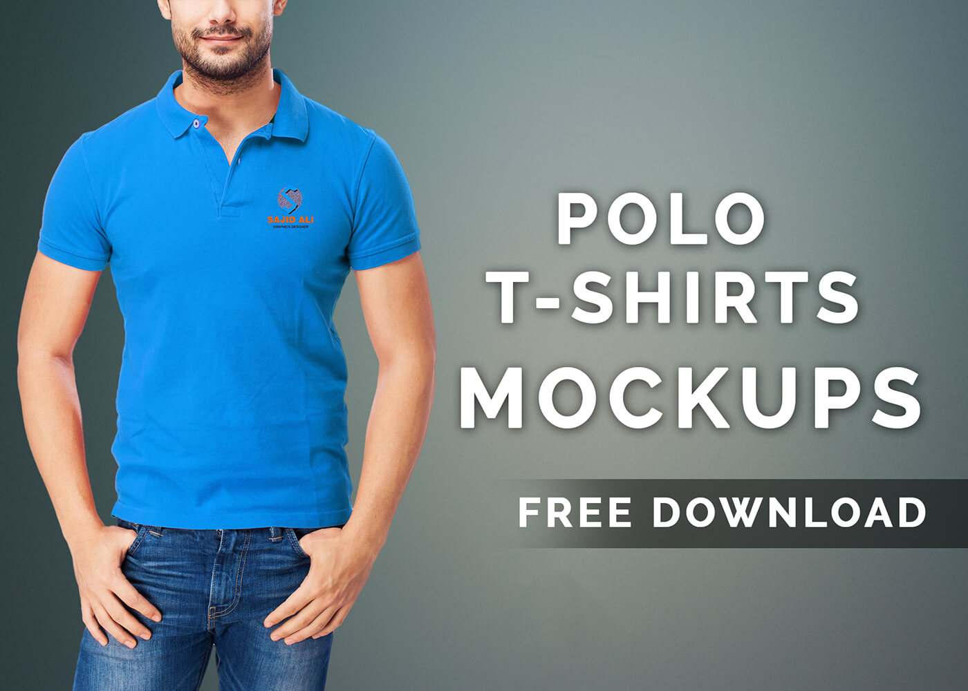 Blue Polo T-shirt PSD Print ready:
