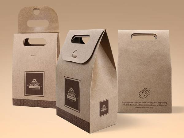 Cake and Cookie Hand Kraft Paper Bag Mockup