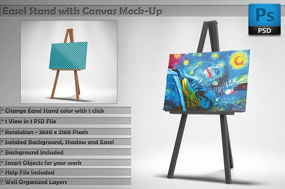 Canvas Placed On Easel Stand Mockup
