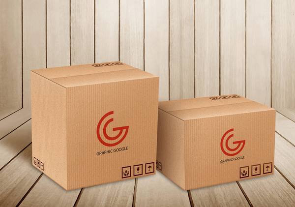Carton Delivery Packaging Box Mockup: