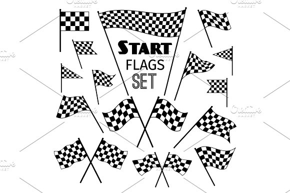 Checkered flag icons Mockup