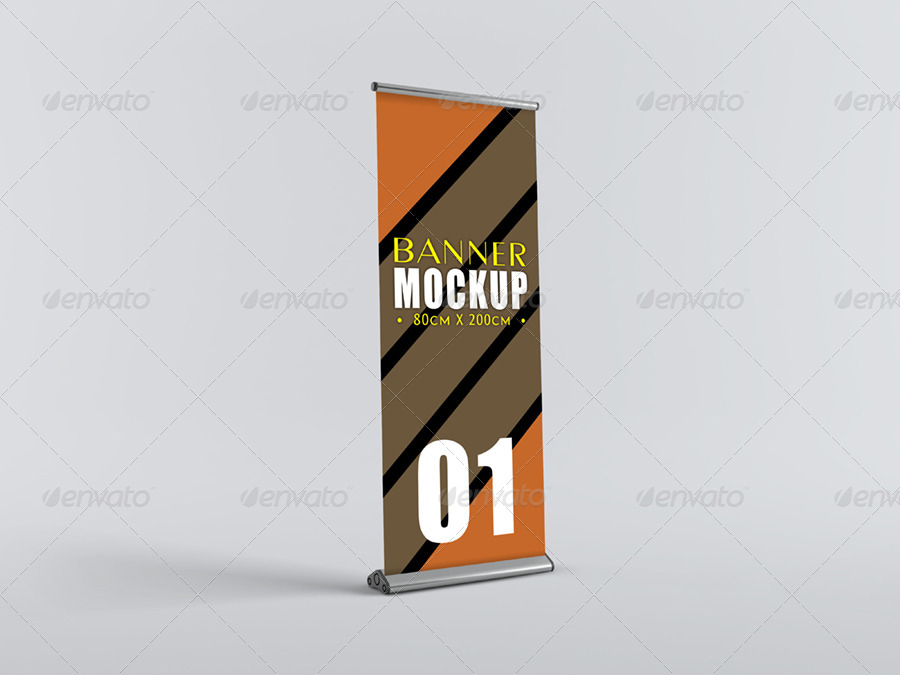 Clean Background Roll-Up Mockup PSD