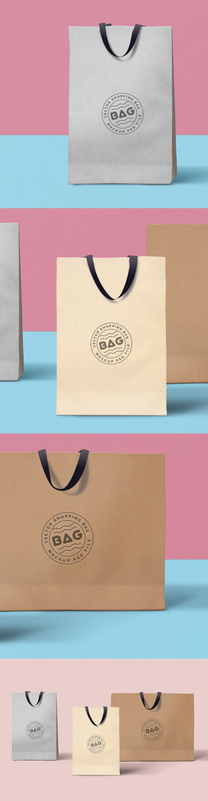 Clean Finished Shopping Bags PSD MockupTemplate