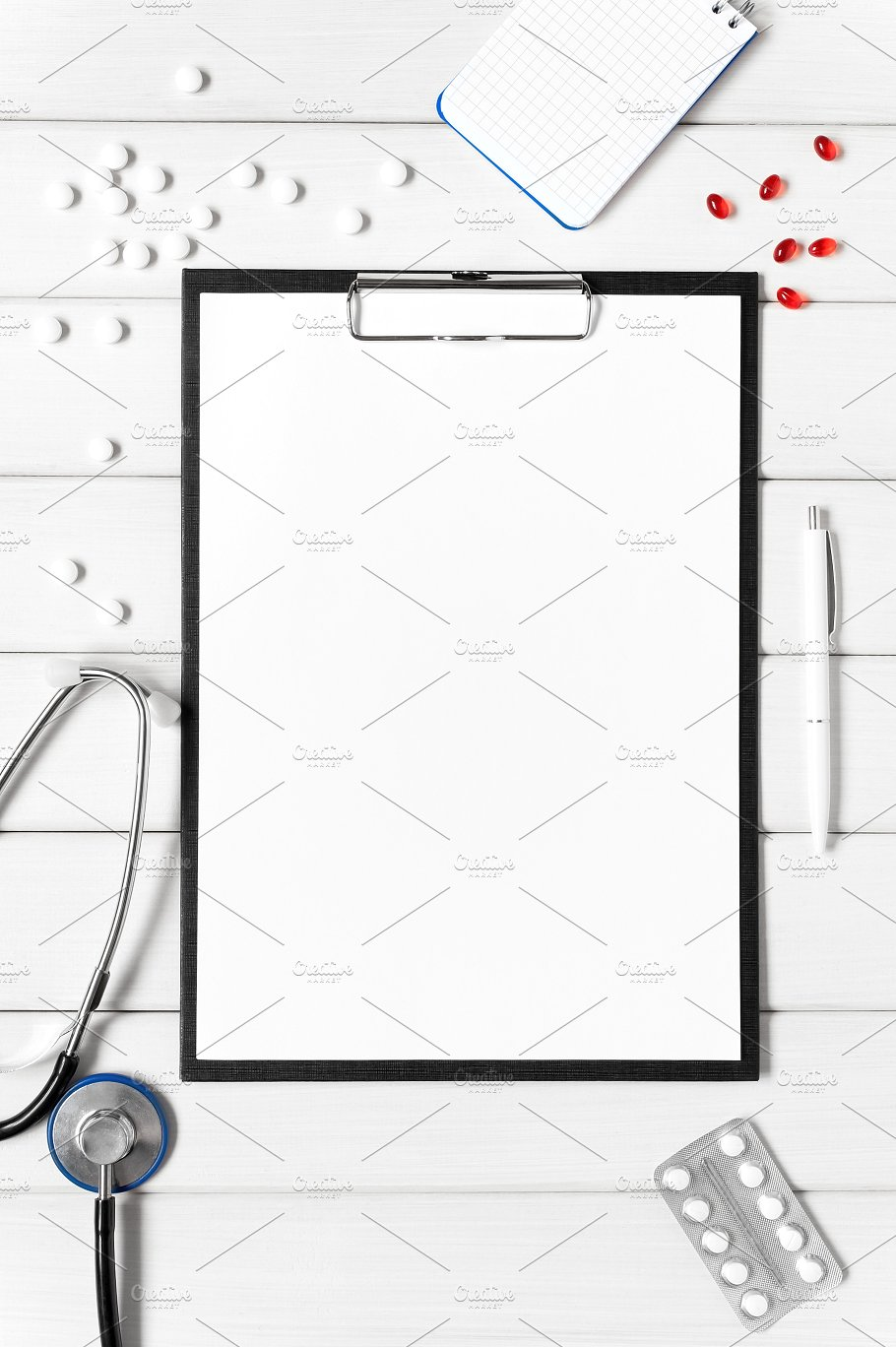 Clipboard and Medical Tools Mockup withCapsules PSD Design template