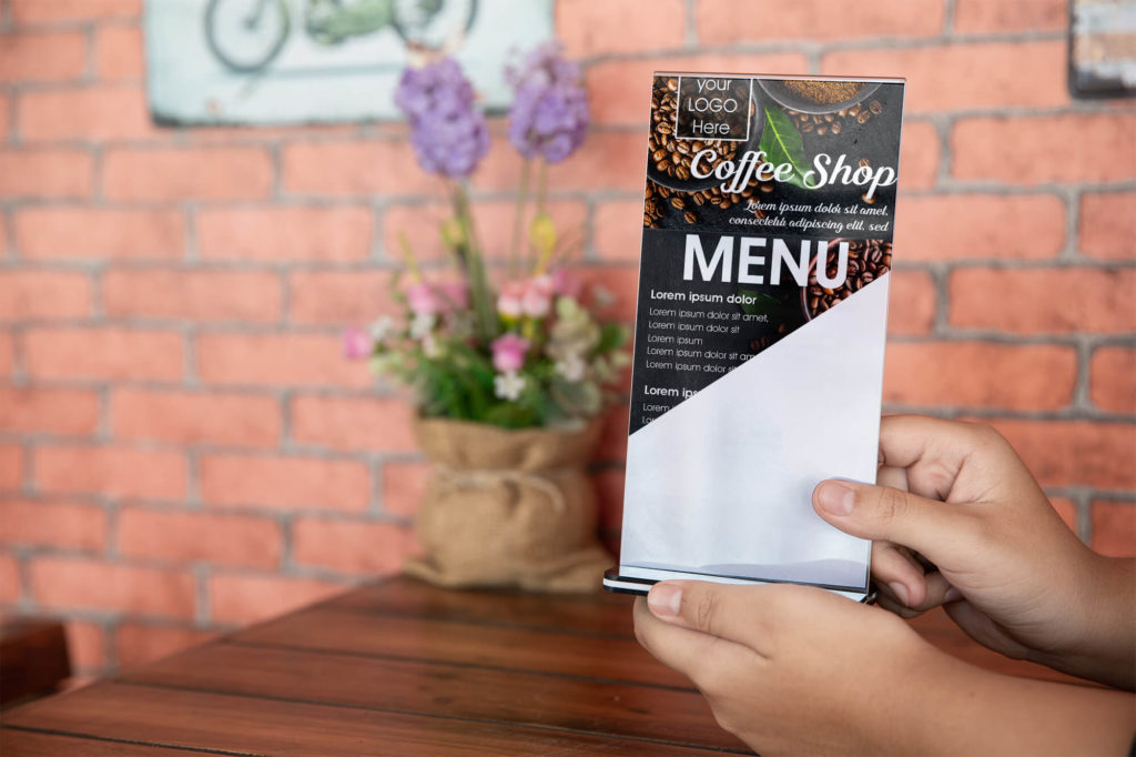 Coffee Shop Menu Card Mockup PSD Template