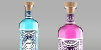 Colored gin bottle packaging mockup Premium Psd