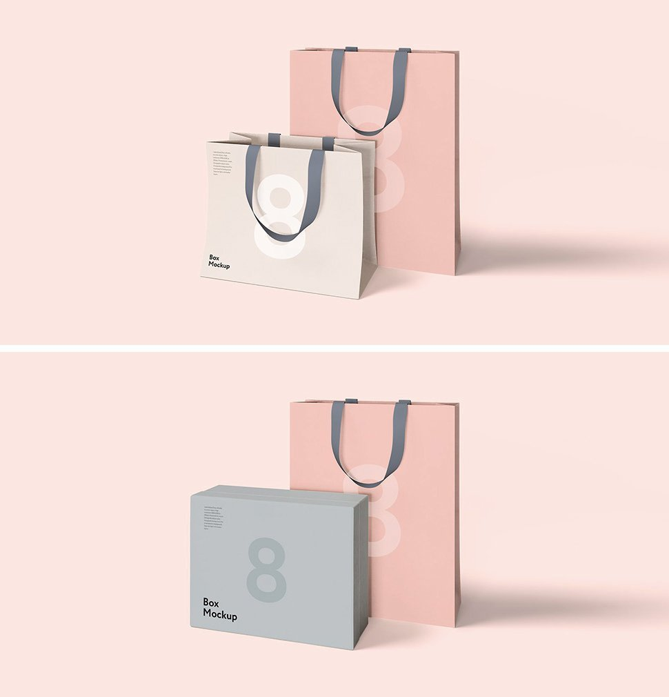 Combo pack of Luxury box & Shopping Bag Mockup