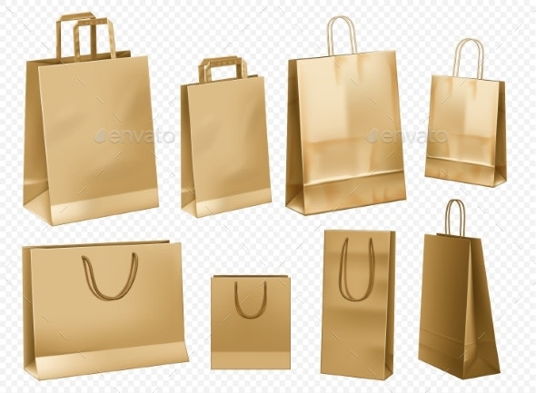 Craft Paper Bag Template Vector Illustration