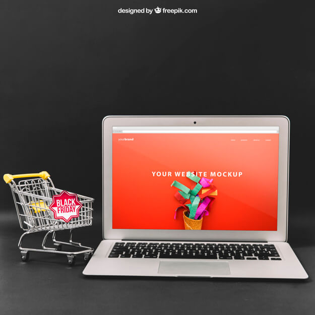 Deep Background Free Laptop Mockup PSD