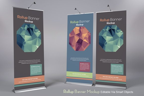 Diamond Design Roll-Up Banner Mockup PSD