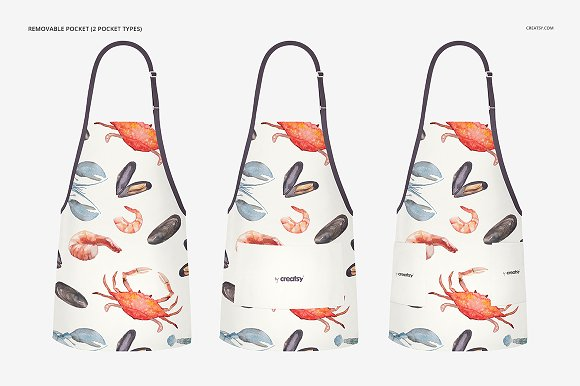 Different Type of Aprons Customizable Mockup: