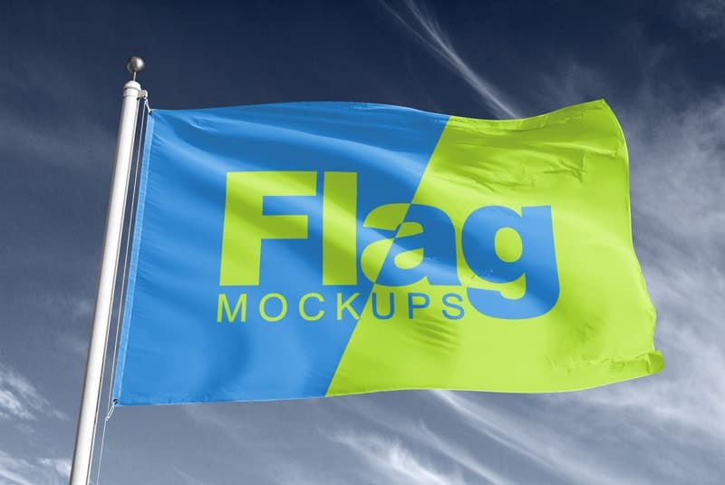 Display Sign Flag Mockup