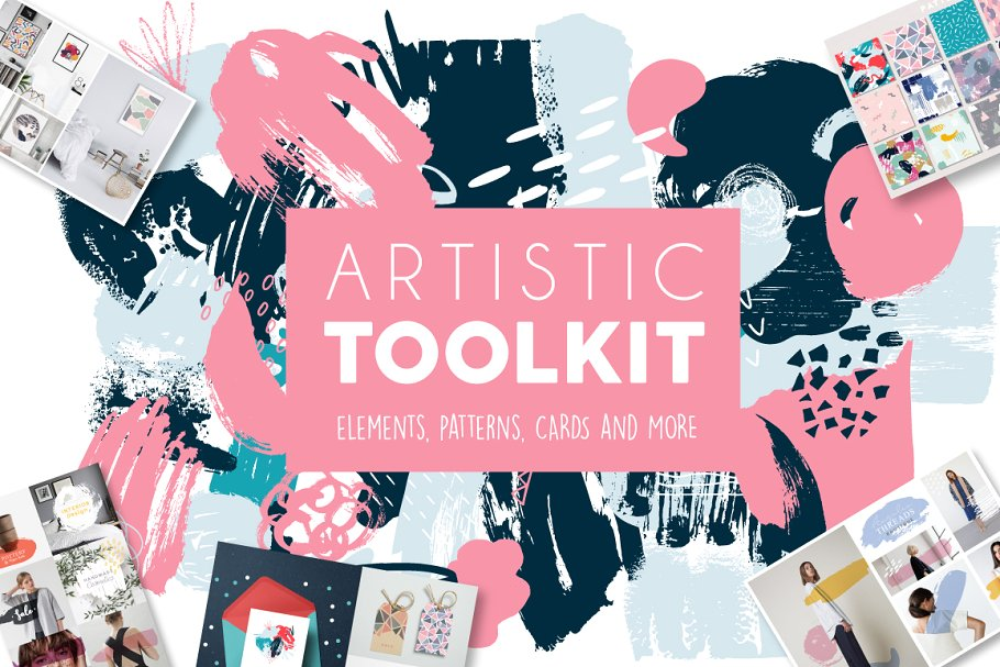 Elements, Patterns And Cards Drawn Artistic Toolkit PSD Mockup