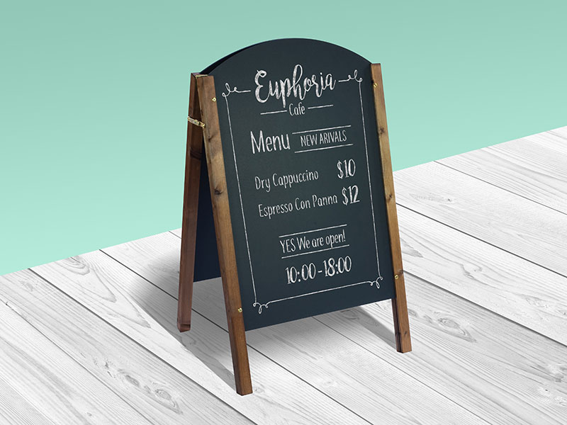 Emphasis Wooden Chalkboard with Stand Illustration