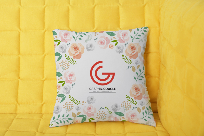 Floral Design Watercolor Print Pillow Mockup